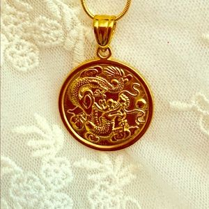 """18k Gold Filled Dragon Pendant With 18"""" Chain."""
